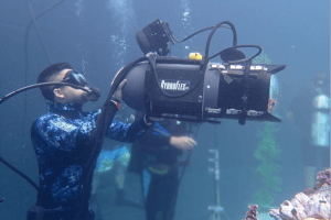 Under Water DP Ian Takahashi in action.